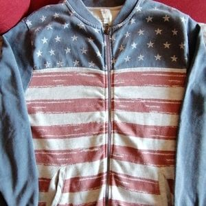 * Price Drop*Zara U.S.A flag zip up sweater.